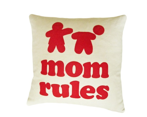 Word Pillow Talk, Unique, Funny Throw Pillow, Valentines Birthday Gift, Mom Rules, Appliqued Text Message, 18x18