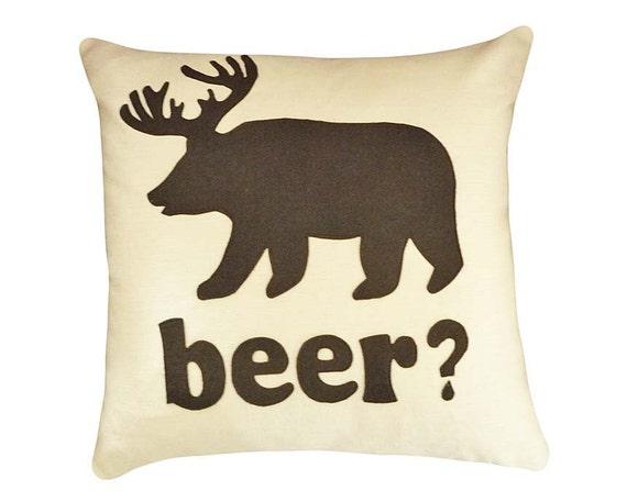 Man Cave Pillow With Cup Holder : Deer beer bear text pillow man cave dorm decor word