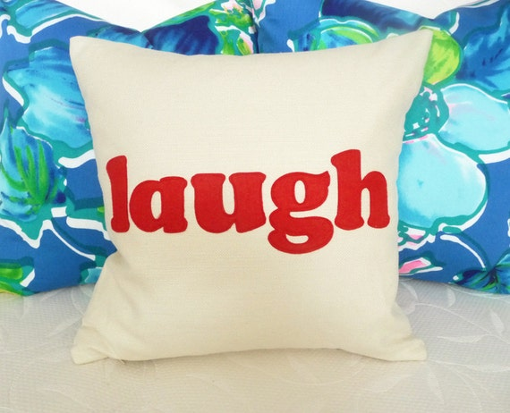 Word Pillows, Laugh Pillow Talk, Text on Cream Throw Pillow, Cushion Cover, Girls Pillow, Teen Bed Accent Pillow, College Dorm Decor 16x16
