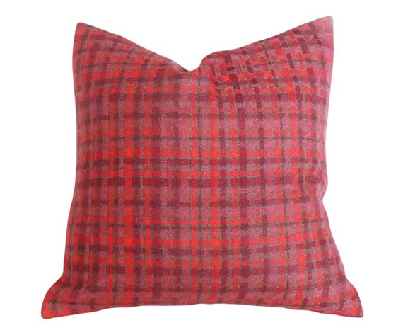 Red Wool  Pillow Covers, Wool Plaid Pillows, Red Pink Plaid Pillows, Rustic Throw Pillows, Country Cushion Covers, 12x18, 16x16, 18x18
