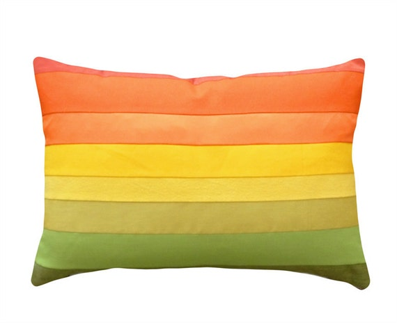 Ombre Pillows, Oblong Pillow Cushion Cover, Colorful, Striped, Orange Yellow Green, Rainbow Colors, Spring Home Decor 16x24