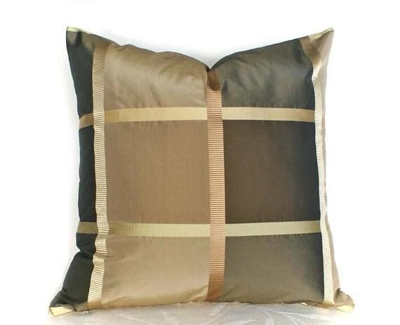 Silk Plaid Pillows Luxury Lumbar Brown Copper Gold 12x18