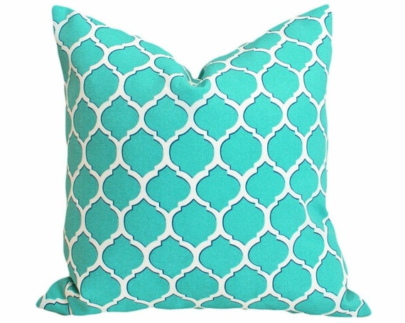 Turquoise Patio Pillows, Blue Geometric Cushions, Decorative Throw Pillows, Inside Outside Covers, Trellis Throw Pillows, Beach Decor 18x18