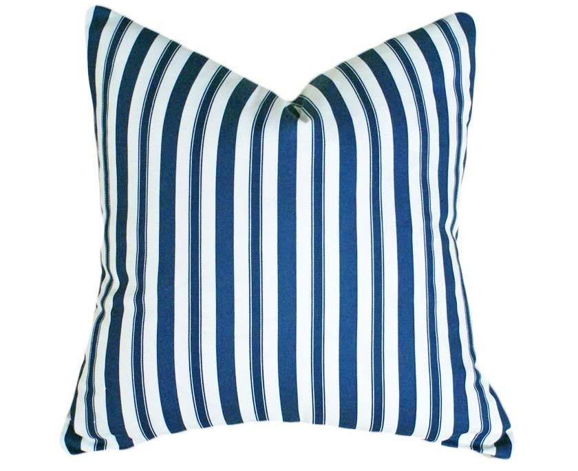Blue Striped Decorative Pillows : Blue White Striped Pillows 14x18 16x20 Ticking by PillowThrowDecor