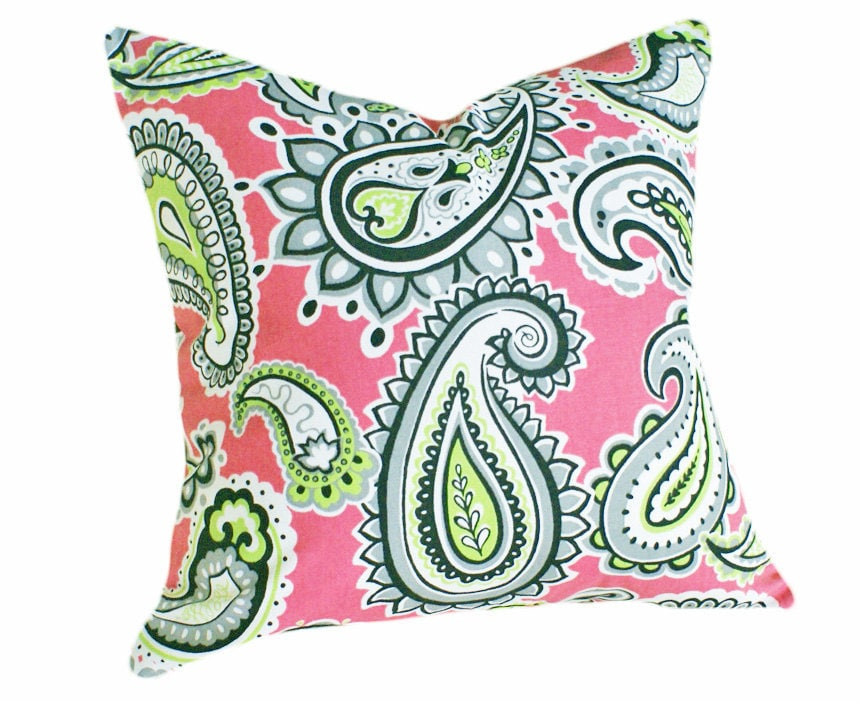 Pink And Green Paisley Pillows Modern Bright Colorful