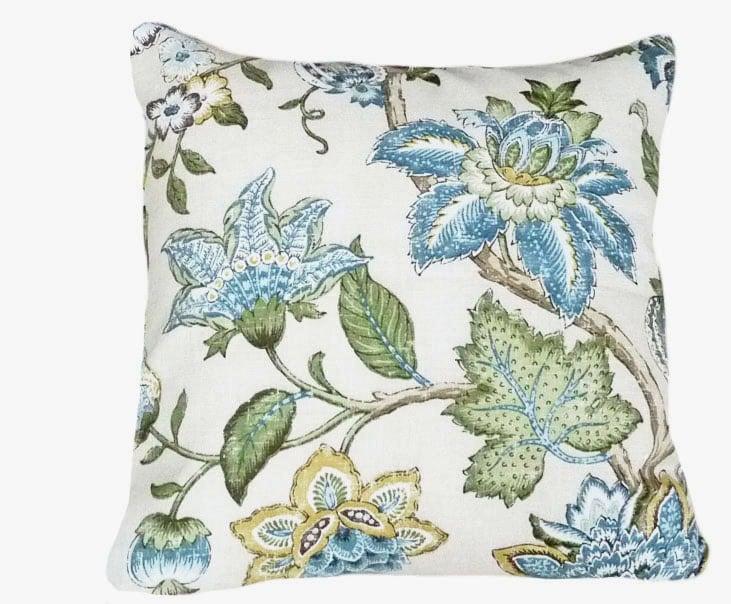 Blue and Cream Pillows Floral Throw Pillow Decorative