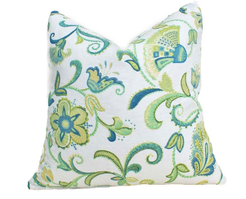 SALE Green Blue Throw Pillow Floral Decorative Accent