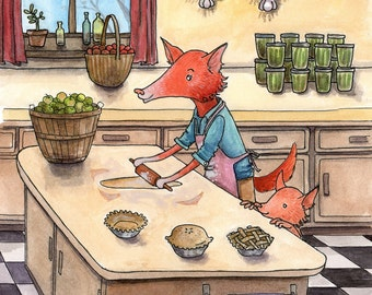 """Wall Art. 8x10 matted print of a watercolor. """"Autumn"""". Mom and baby fox baking pies in the kitchen."""