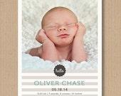 Baby Boy Birth Annnouncementl, 5x7, Printable - Classic Stripes