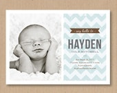 Custom Baby Boy Birth Announcement. 5x7 PRINT YOUR OWN - Chevron