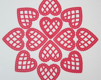 50 Scalloped Hearts- Red