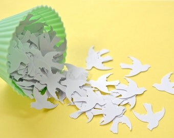 100 Punched Doves/Birds, Embellishments --White