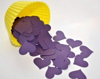 100 Punched Hearts, Die Cuts, Embellishments --Purple