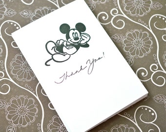 Set of 10 - Mickey Mouse Hand Stamped Card