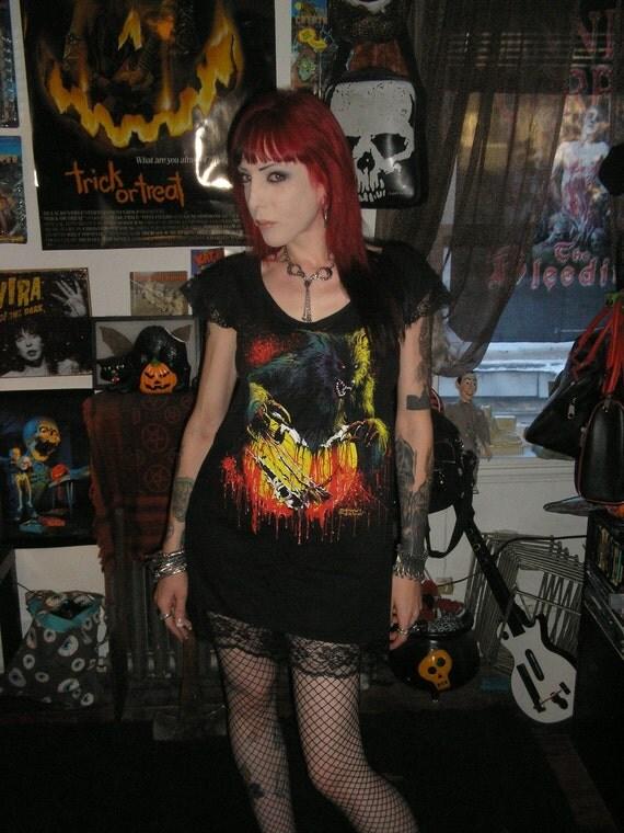 S-L THE HOWLING Girls Babydoll Dress Horror 80s Werewolf