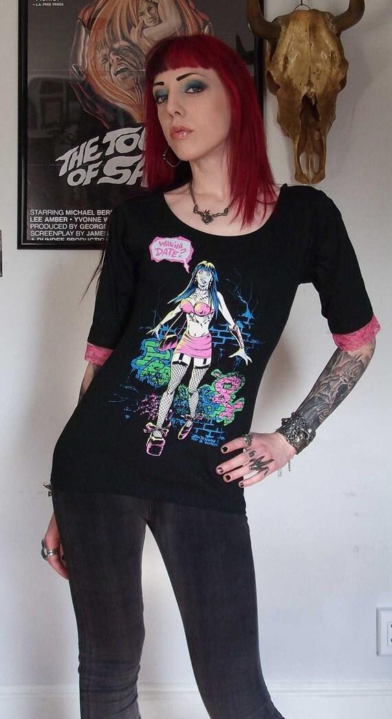 FRANKENHOOKER Girls Lace Tunic Top Horror 3/4 Sleeve Shirt