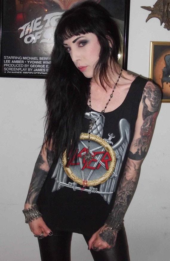 Slayer Girls Eagle Slub Tank Top Heavy Metal