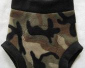 End of year markdown - MEDIUM/LONG Fleece diaper cover/soaker  - camo with black trim