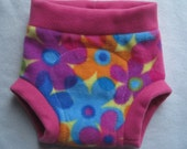 Fleece soaker diaper cover - size LARGE - bright flowers and pink