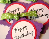 HAPPY BIRTHDAY Purple Pink Green Polka dot Party Favor Gift tags by Chocolatetulipdesign