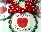 Teacher Appreciation WORLD'S BEST TEACHER party favor gift tags by Chocolatetulipdesign