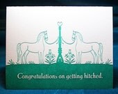 Getting Hitched Letterpress Card, Green