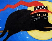 Black Witch CAT With RED Hat ORIGINAL 16 x 12 Canvas Folk Art Painting