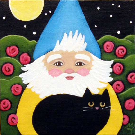 Garden GNOME and Black Cat at Night in the Rose Garden ORIGINAL Folk ART Painting