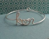Two Lovers Bracelet in Sterling silver-custom 2 initials with heart in Wire