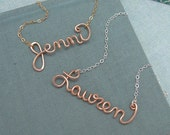 Rose Gold Filled Name Necklace-Personalized , wedding, bridal party, bridesmaid, graduation gift