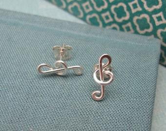 Treble Clef Post Earrings