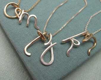 Custom Initials Necklaces in Silver and Gold