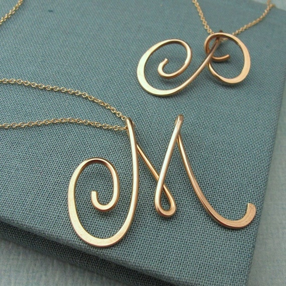 14k gold filled calligraphy necklace Calligraphy jewelry