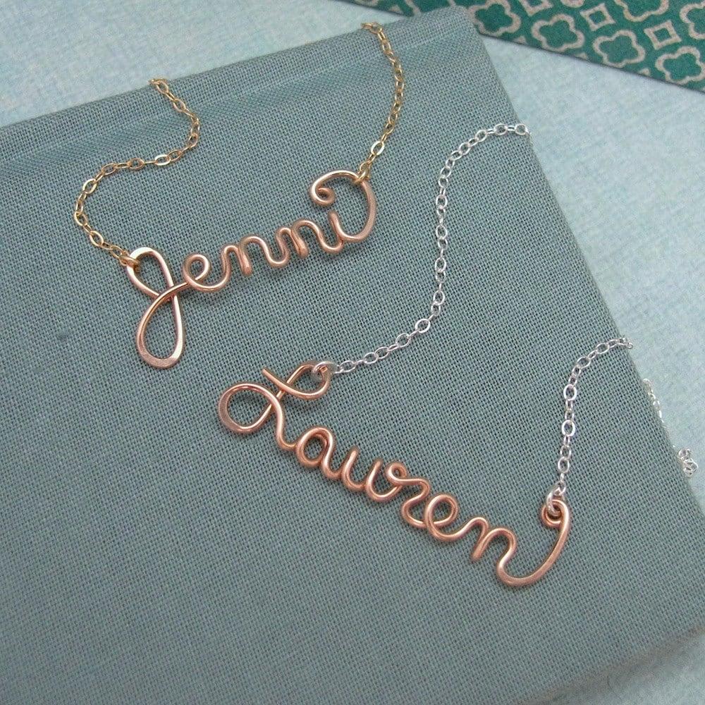 rose gold filled name necklace personalized wedding bridal. Black Bedroom Furniture Sets. Home Design Ideas