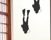 Big Diver Wall Decals (2), Bathroom or Bedroom Vinyl Stickers