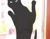 Cat Wants In, Black Cat Wall or Window Sticker Decal