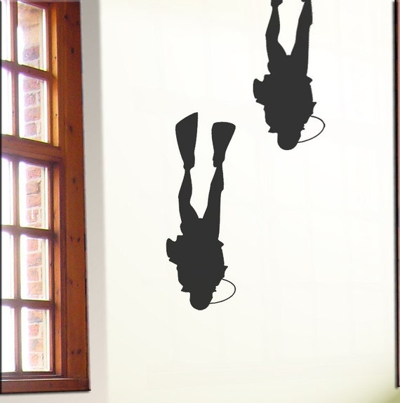 Diver Wall Stickers, Bathroom or Bedroom Vinyl Decals
