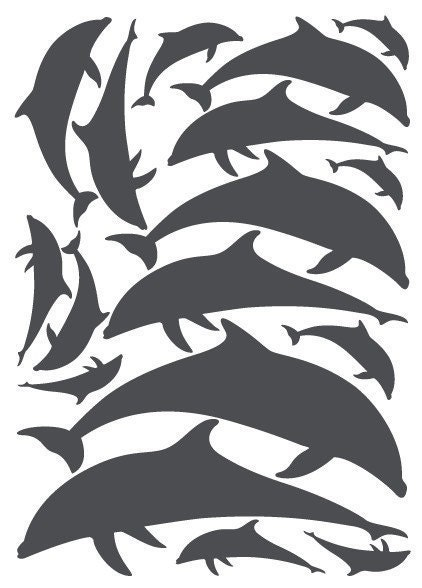 Dolphin wall decals / stickers, vinyl cut (15 dolphins)