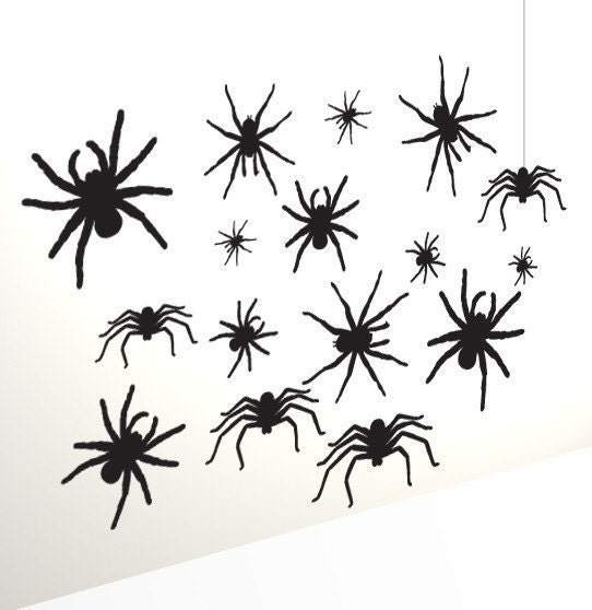 Scary Spider Wall Sticker Decals set (12 items), Vinyl Stickers