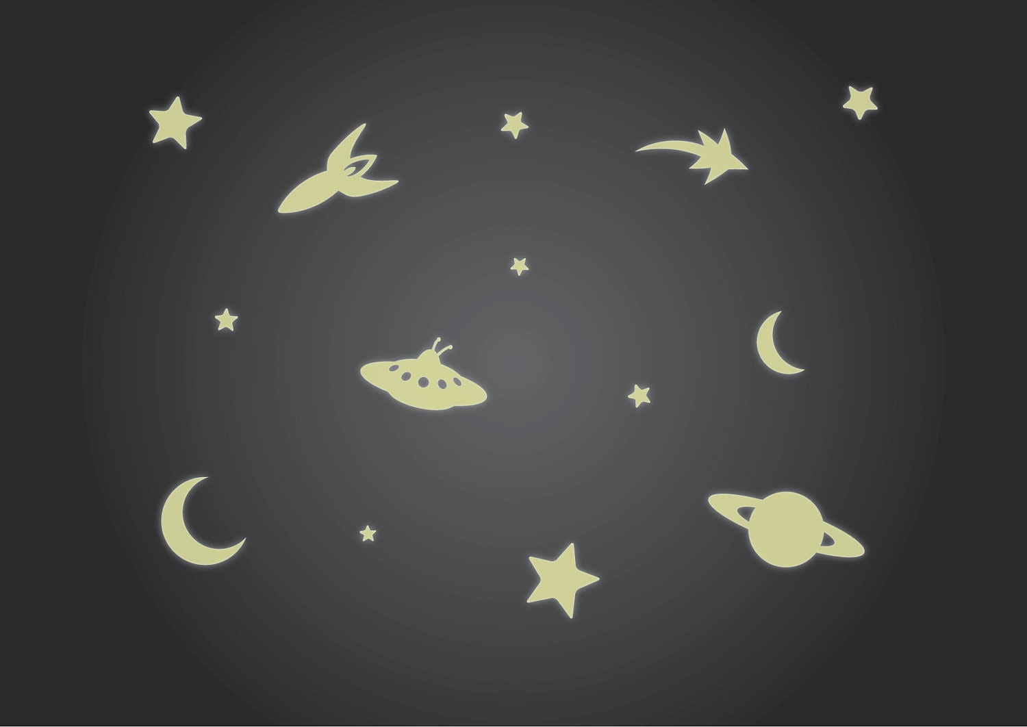 Glow in the Dark Ceiling Stickers Luminous Rocket, Stars, UFO and Moon