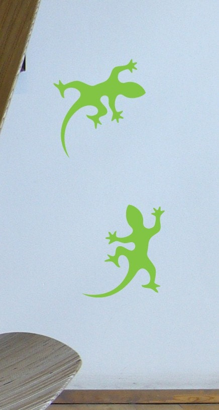 Gecko Wall Stickers (Lizards) Playing, Vinyl Cut stickers - 4 sets