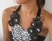 As seen on CNNGo.com - Night at the Oscars - A Crystal and Pure Silk Rosette Statement Bib Necklace