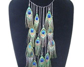 Peacock Feathers And Chain - The Ultimate Statement Feather Necklace