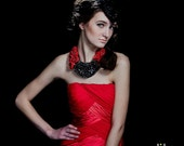 Oriental Princess - Red and Black Beaded Rosette Bib Necklace