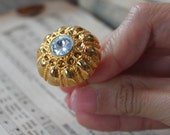 Sea Urchin Ring in Gold and Crystal - CLEARANCE SALE