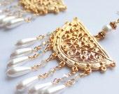 Helen of Troy - 14K Gold Plated Chandelier Earrings with Pearl Drops
