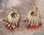 Mini Piece de Resistance Earrings in 14K Gold Plate with shades of Vermillion and Champagne - reserved