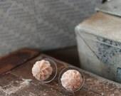 SALE - Mini Sunflower Earrings in pastel peach pink (last one)