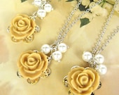 Set of 5 - bridesmaids necklace, wedding jewelry WN-G5 (Custom order - your choice of colour)