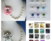Set of 3 Rhinestone satin flower pearl necklace, bridesmaids/wedding jewelry - WN18 (Custom order - your choose your colour)
